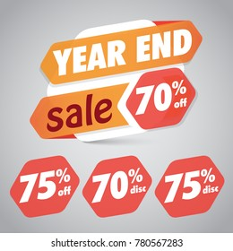 Year End Sale 70% 75% Off Discount  Tag for Marketing Retail Element Design