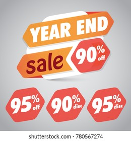 Year End Sale 90% 95% Off Discount  Tag for Marketing Retail Element Design