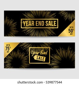 Year end sale banner collection in gold with square frame isolated and fireworks background