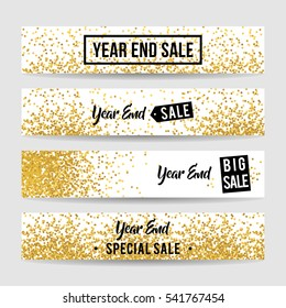 Year end sale banner collection with gold confetti background