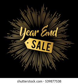 Year end sale banner in gold with fireworks background