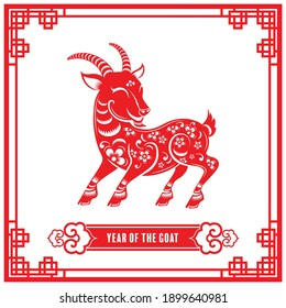 Year of the goat for chinese new year 2027 or chinese fastival , lucky zodiahc lucky of the year red paper cut with craft style on background.