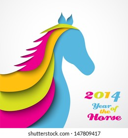 Year of the horse. Christmas and New Year card. Vector illustration for your holiday design. Abstract image of horse which has been cut out from paper. Applique background. 2014