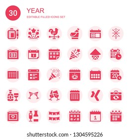 year icon set. Collection of 30 filled year icons included Schedule, Fireworks, Rooster, Ice bucket, Calendar, Appointment book, Confetti, Chinese, Champagne, Cheers, Xing, Garland