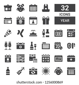 year icon set. Collection of 32 filled year icons included Calendar, Japanese, Fireworks, Champagne, Schedule, Mittens, Fountain, Xing, Confetti, Present, Birthday, Chinese
