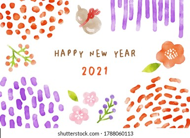 new years card material images stock photos vectors shutterstock https www shutterstock com image vector year ox 2021 watercolor new years 1788060113