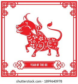 Year of the ox for chinese new year 2021 or chinese fastival , lucky zodiahc lucky of the year red paper cut with craft style on background.