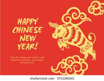 Year of the ox. Chinese New Year Card.