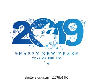 Year of the Pig 2019. Blue pattern 2019. Vector template New Year's design on the Chinese calendar.