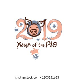 Year of the Pig 2019. Card with a cartoon piglet head and 2019. Funny hand drawn illustration. Vector template New Year's design.