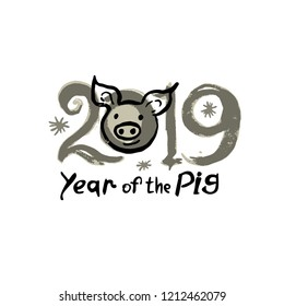 Year of the Pig 2019. Card with cute piglet head and 2019. Funny hand drawn illustration. Vector template New Year's design.