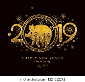 Year of the Pig 2019 in the Chinese calendar. Golden symbol on black. Beautiful New Year card with the symbol of the year Golden Pig.