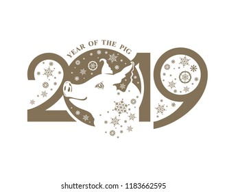 Year of the Pig 2019. Cute piglet and snowflakes flat illustration. Vector template New Year's design on the Chinese calendar.