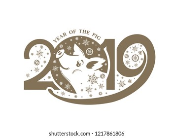 Year of the Pig. 2019. Flat pattern 2019 and smiling pig and snowflakes. Vector template New Year's design on the Chinese calendar.