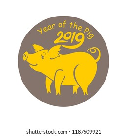 Year of the Pig 2019. Round sticker with cute yellow piggy. Vector template New Year's design on the Chinese calendar. Funny pig in snowflakes.