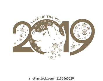 Year of the Pig 2019. Smiling piglet and snowflakes flat illustration. Vector template New Year's design on the Chinese calendar.