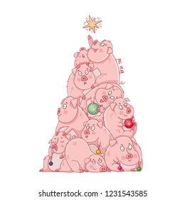 year of the pig. Christmas tree. sketch for printing on clothes. New Year holiday. vector