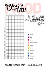 Year in pixels, your mood. Habit tracker blank with hand written cute numbers and lettering. Bullet journal template. Monthly planer