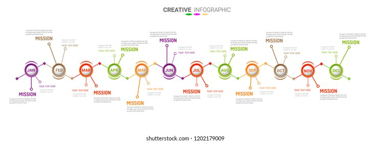 Year planer, Timeline business for 12 months, 1 year, Timeline infographics design vector and Presentation business can be used for Business concept with 12 options, steps or processes.