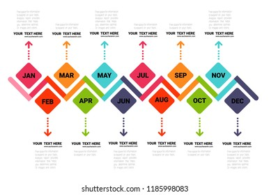 Year Planer, Timeline Infographics Template, Vector infographics timeline design template with 12 label, 12 months 1 year, Vector can be used for workflow layout, diagram, number step up options.