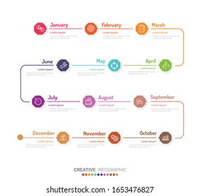 Year planner, 12 months, 1 year. Timeline infographics design vector and Presentation business can be used for Business concept with 12 options, steps or processes.