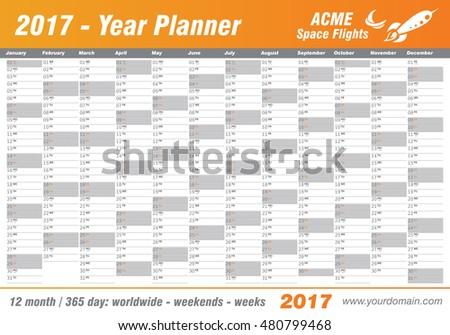 Year Planner Calendar 2017 International Worldwide Stock Vector