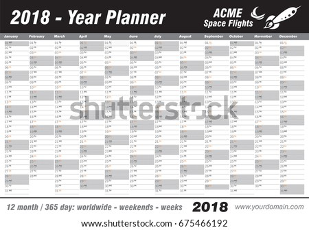 Year Planner Calendar 2018 Vector Annual Stock Vector Royalty Free