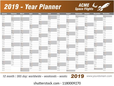 Year Planner Calendar 2019 - Vector. Annual worldwide printable wall planner, diary, activity template - with dates, days of the month - space for personal notes. Week starts Monday. Brown, chocolate.