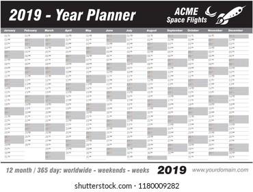 year planner calendar 2019 vector annual stock vector royalty free