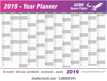 Year Planner Calendar 2019 - Vector. Annual worldwide printable wall planner, diary, activity template - with dates, days of the month - space for personal notes. Week starts Monday. Purple, magenta