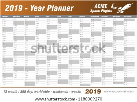Year Planner Calendar 2019 Vector Annual Stock Vector ...