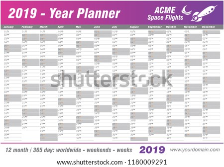 year planner calendar 2019 vector annual worldwide printable wall planner diary activity