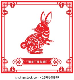 Year of the rabbit for chinese new year 2023 or chinese fastival , lucky zodiahc lucky of the year red paper cut with craft style on background.