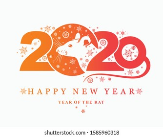 Year of the Rat 2020. Beautiful 2020 New Year card with a portrait of a white rat. Cute cartoon White Rat. Vector template New Year's design on the Chinese calendar.