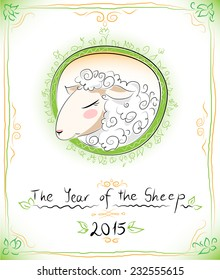 Year of the sheep card or emblem for 2015, EPS 10