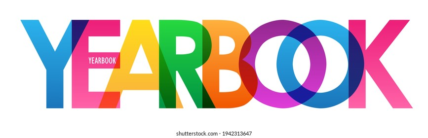 YEARBOOK colorful vector typography banner isolated on white background