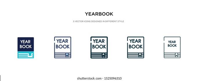 yearbook icon in different style vector illustration. two colored and black yearbook vector icons designed in filled, outline, line and stroke style can be used for web, mobile, ui