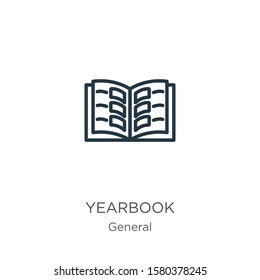 Yearbook icon. Thin linear yearbook outline icon isolated on white background from general collection. Line vector sign, symbol for web and mobile