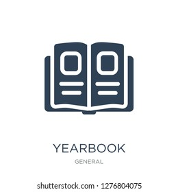 yearbook icon vector on white background, yearbook trendy filled icons from General collection, yearbook vector illustration