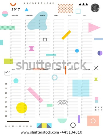 yearly planner calendar vertical months on stock vector royalty
