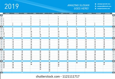 Yearly Wall Calendar Planner Template for 2019 Year. Vector Design Print
