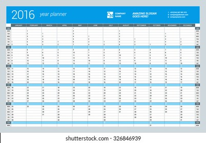 Yearly Wall Calendar Planner Template for 2016 Year. Vector Design Print Template. Week Starts Sunday