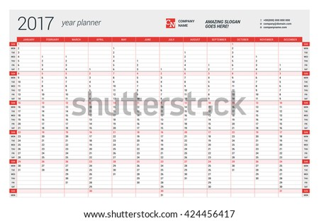 yearly wall calendar planner template 2017 stock vector royalty