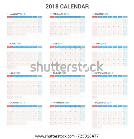 yearly wall calendar planner template 2018 stock vector royalty