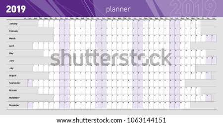 Yearly Wall Planner 2019 Year Template Stock Vector Royalty Free