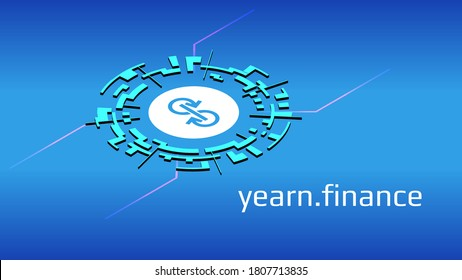 yearn.finance YFI isometric token symbol of the DeFi project in digital circle on blue background. Cryptocurrency icon. Decentralized finance programs. Vector EPS10.
