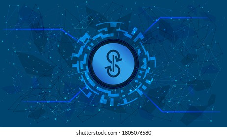 Yearn.finance YFI token symbol of the DeFi project in a digital circle with a cryptocurrency theme on a blue background. Cryptocurrency icon. Decentralized finance programs. Copy space. Vector EPS10.