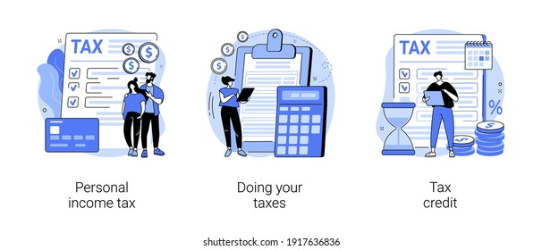 Years tax bill abstract concept vector illustration set. Personal income taxation and tax credit, online IRS form, bank account, budget planning calculator, bill payment abstract metaphor.