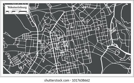 Yekaterinburg Russia City Map in Retro Style. Outline Map. Vector Illustration.