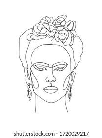 Yekaterinburg, Russia - May 02, 2020: Frida Kahlo portrait single line sketch. - Vector illustration